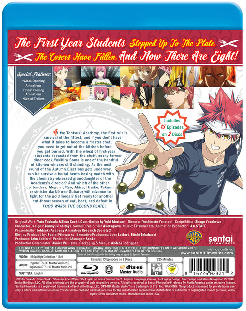 Food Wars! The Second Plate Complete Collection Blu-ray Back Cover