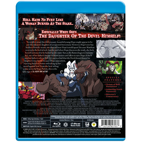 Lady Death the Motion Picture Blu-ray Back Cover