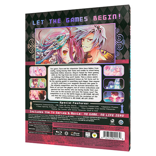 No Game, No Life Complete Collection [SteelBook Edition] Blu-ray Back Cover