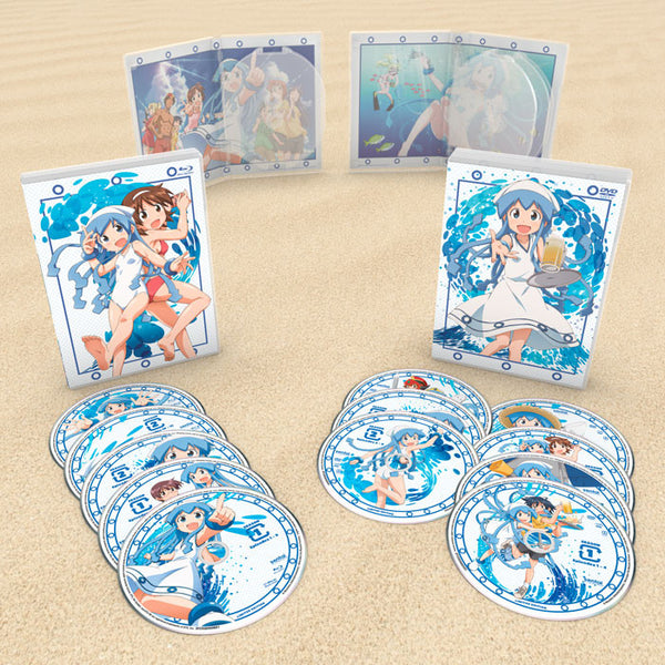 Squid Girl Seasons 1 & 2 Premium Box Set Blu-ray/DVD Disc Spread