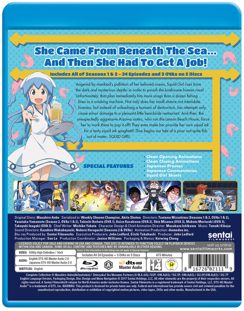 Squid Girl Seasons 1 & 2 Complete Collection Blu-ray Back Cover