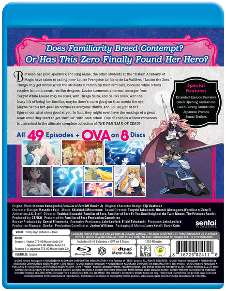 The Familiar of Zero Complete Series Blu-ray Back Cover