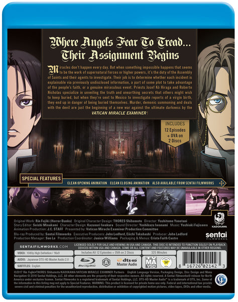 Vatican Miracle Examiner Complete Collection Blu-ray Back Cover