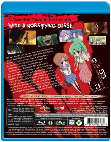 When They Cry Complete Series Blu-ray Back Cover