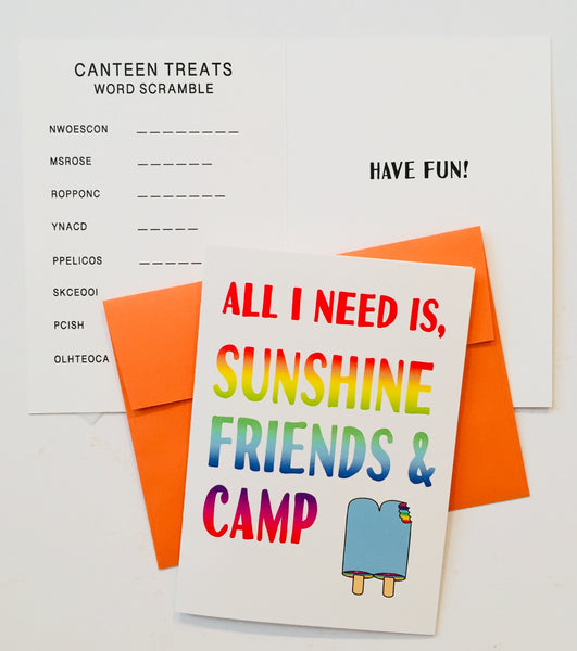 NEW! SWEET PACK-Summer Camp Greeting Cards Set of 5 (Includes 2 Removable Decals)