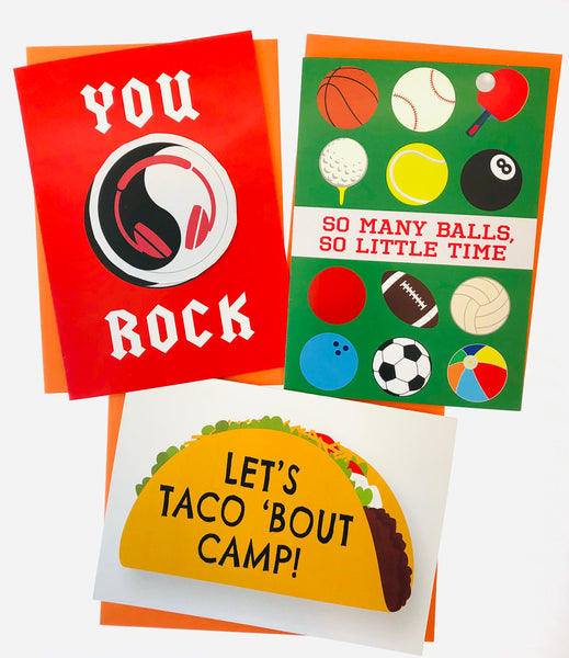 NEW! The Funky Camper-3 Pack of Greeting Cards (one removable decal included!)