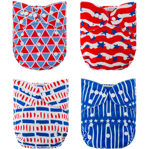 Stars & Stripes 4-Pack Cloth Diapers