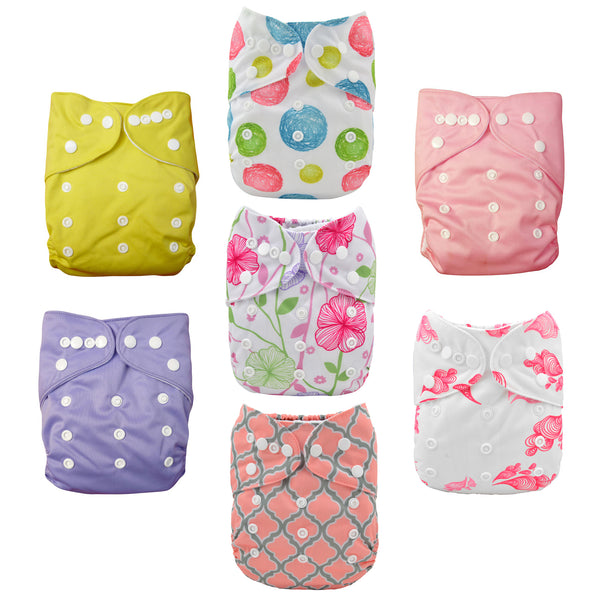 Pink Blossoms Cloth Diapers 7 Pack