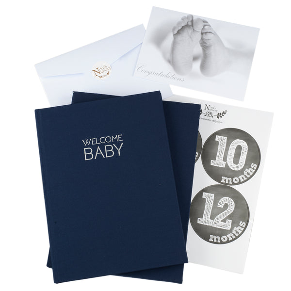 Navy Linen Wrapped Baby Memory Book With Monthly Stickers & Gift Card