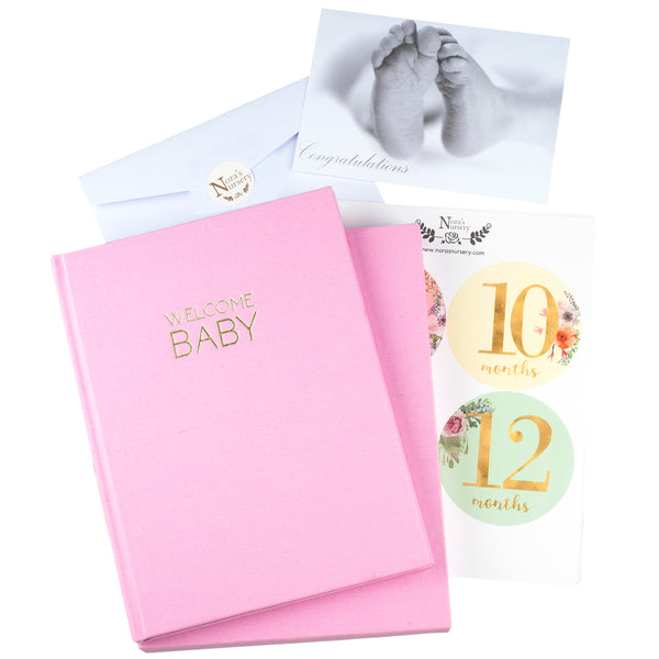 Pink Linen Wrapped Baby Memory Book With Monthly Stickers & Gift Card