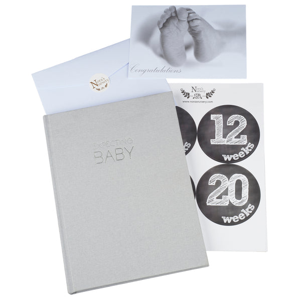 Unisex Pregnancy Journal Planner - Grey Linen Wrapped Baby Memory Book with Belly Stickers