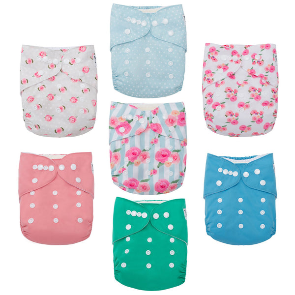 Nora's Nursery Perfect Peonies 7 pack of Cloth Diapers