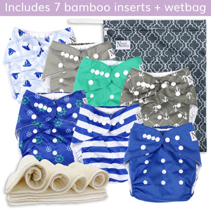 Navy Nautical Cloth Diapers 7 Pack