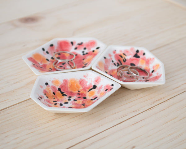 Small Geometric Ring Dish - Set - Poppy - Clarke Collective - 1