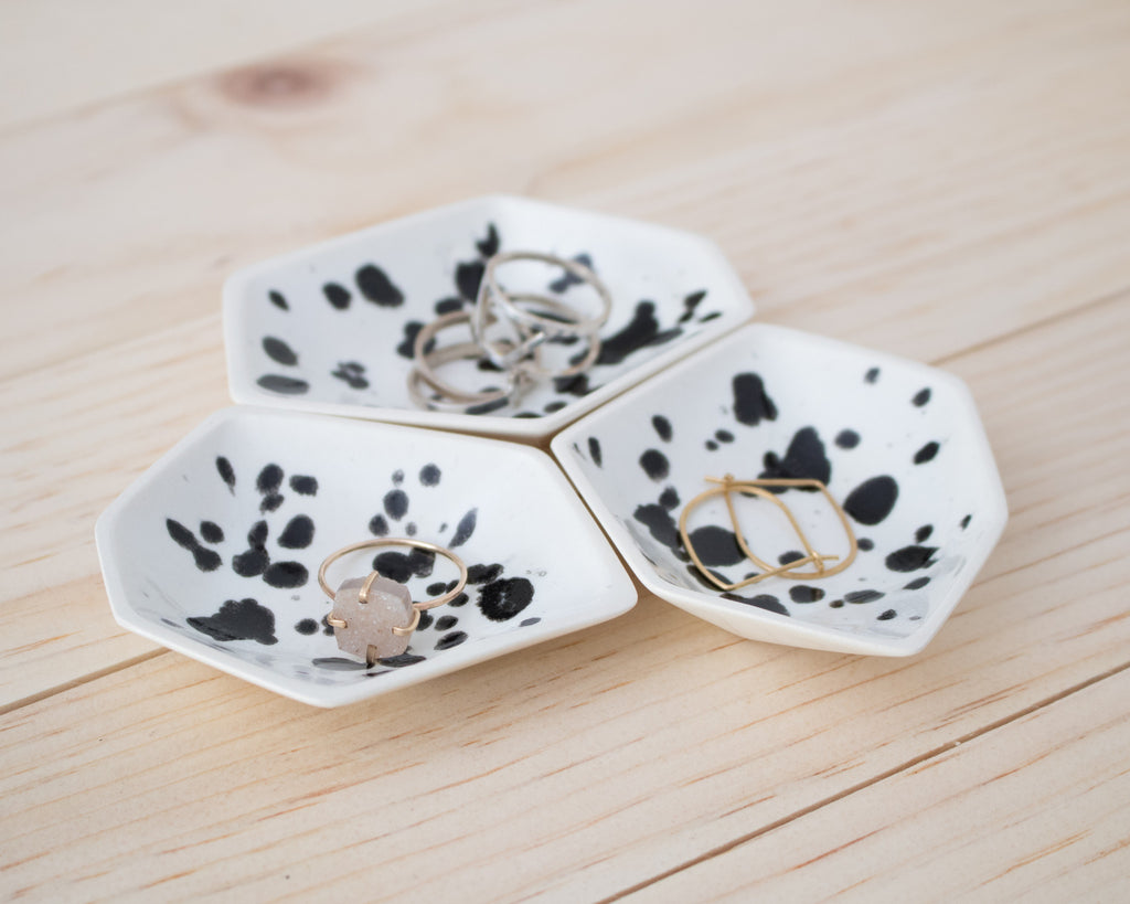 Small Geometric Ring Dish - Set - Ink Spots - Clarke Collective - 1
