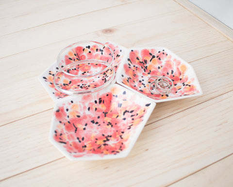 Large Geometric Ring Dish - Set - Poppy
