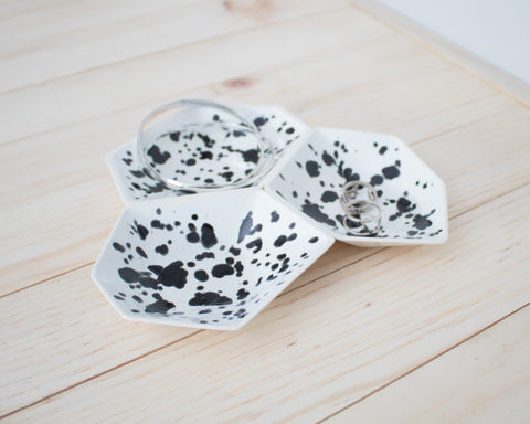 Large Geometric Ring Dish - Set - Ink Spots