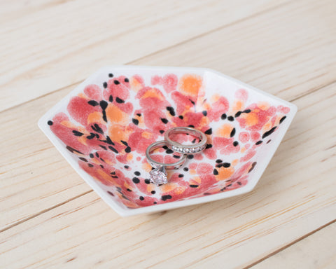 Large Geometric Ring Dish - Individual - Poppy