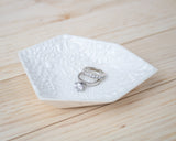 Large Geometric Ring Dish - Individual - White Crawl - Clarke Collective - 1