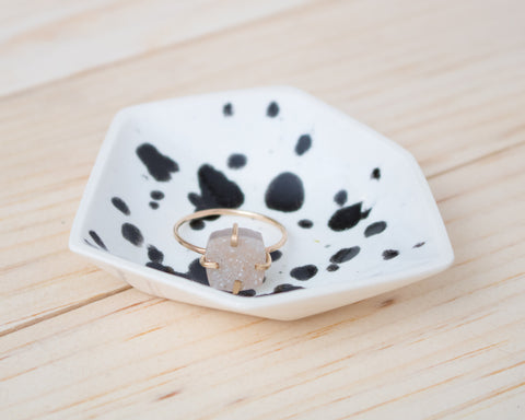 Small Geometric Ring Dish - Individual - Ink Spots
