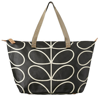 Giant Stem Zip Shopper - Black and Cream