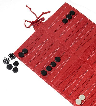 Red Leather Travel Backgammon Set