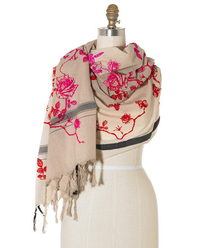 Bright Rose Toile Scarf