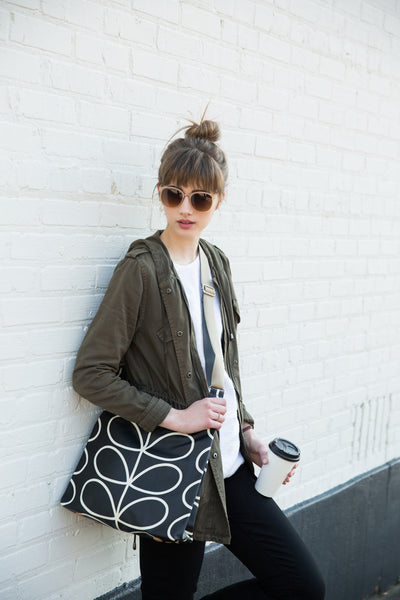 Giant Stem Midi Sling Bag - Black and Cream