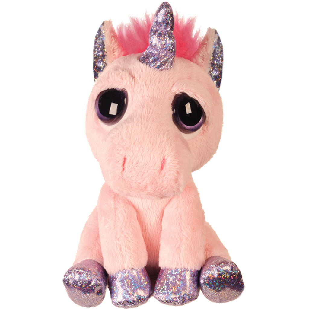 Suki Gifts Lil Peepers Fun Spirit Pink Unicorn Plush Toy with Purple Sparkle Accents