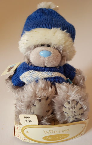 Me To You Tatty Teddy Bear with Blue Hat and Jumper 7inches With Love