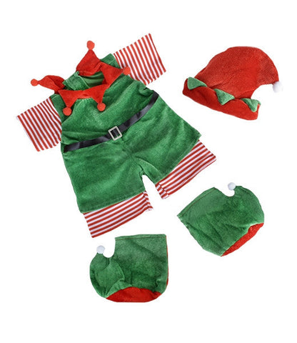 "Teddy Mountain - Outfit - Christmas ""Elf"" Outfit with Hat & Boots (8"")"