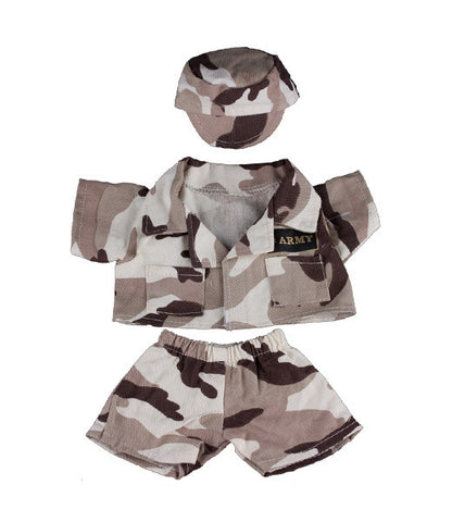 "Teddy Mountain - Outfit - Army ""Desert"" Outfit with Badge (8"")"