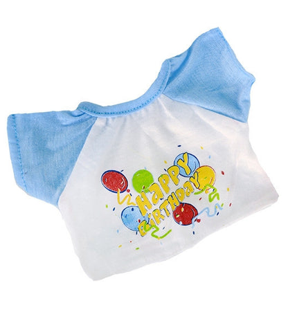 "Teddy Mountain - Outfit - Blue Birthday T-Shirt (8"")"