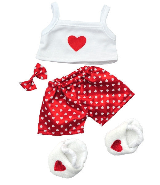 "Teddy Mountain - Outfit - Satin Heart PJ with Slippers (8"")"