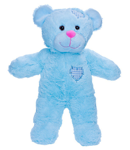 "Teddy Mountain - Bear - Baby Blue Patches Heart Beat Bear (16"")"