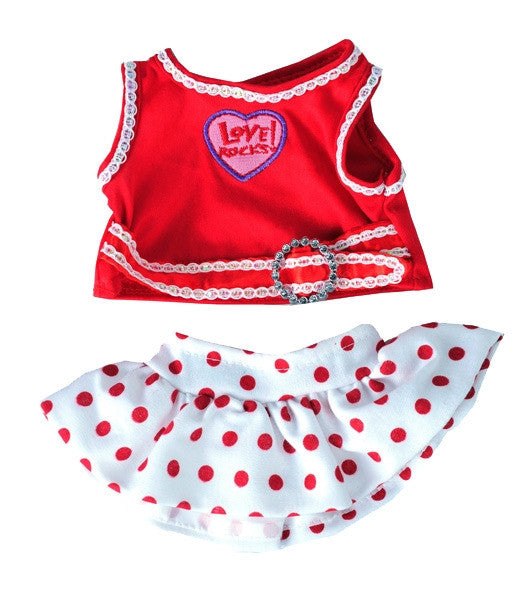 "Teddy Mountain - Outfit - Love Rocks Top with Polka Dot Skirt (8"")"