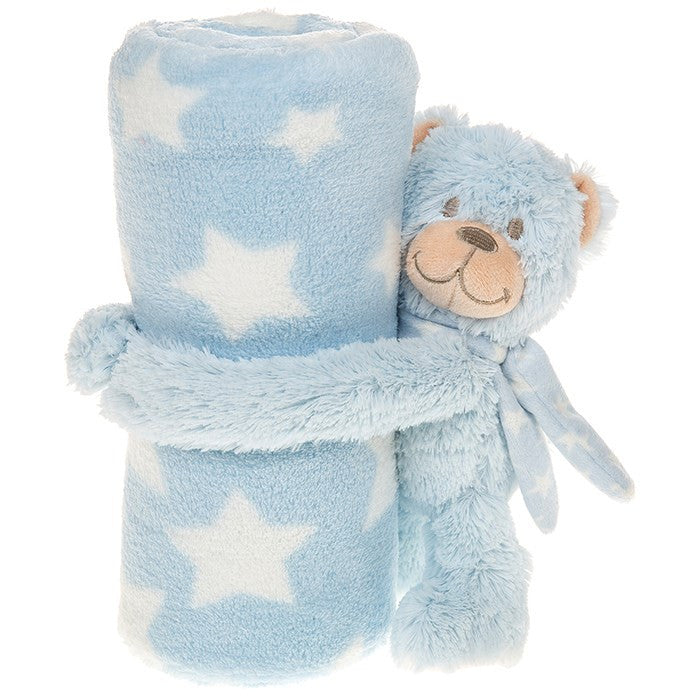 Cuddletime Blue Teddy Bear Blanket Small