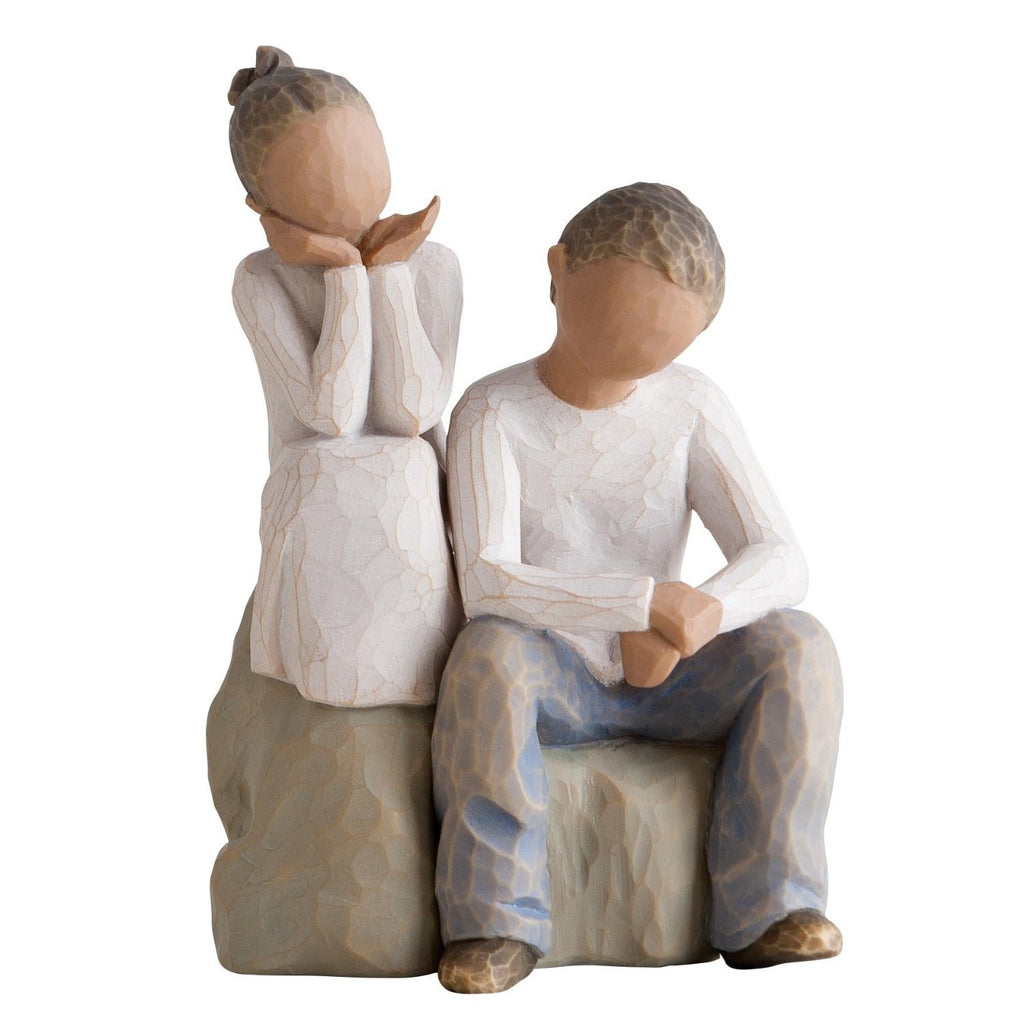 Willow Tree Brother & Sister Figures in New Skin Tone, Multi-Colour