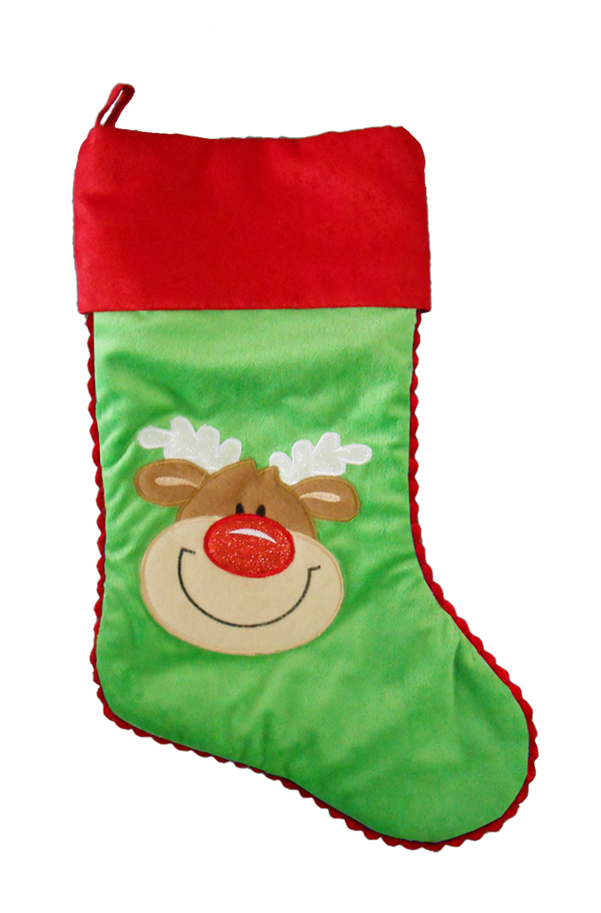 Green Reindeer Personalised Christmas Stocking Cubby