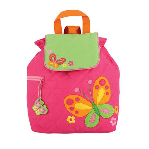 Pink Butterfly Styled Children's Quilted Personalised Backpack by Stephen Joseph