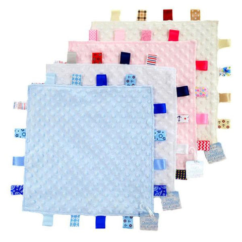 Personalised Minky Dimple Fabric Comforter with Satin Tags by Soft Touch - Blue