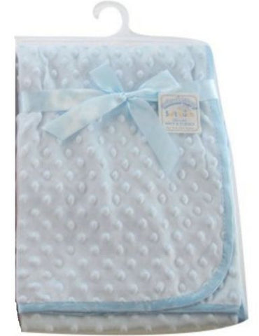 Personalised Coral fleece baby wrap with fleece trim and back Blue Baby Blanket
