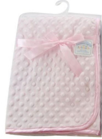 Personalised Coral fleece baby wrap with fleece trim and back Pink Baby Blanket