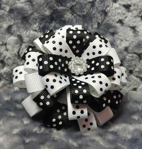 Flower Loop Stacked Hair Bow - Black and White Collection