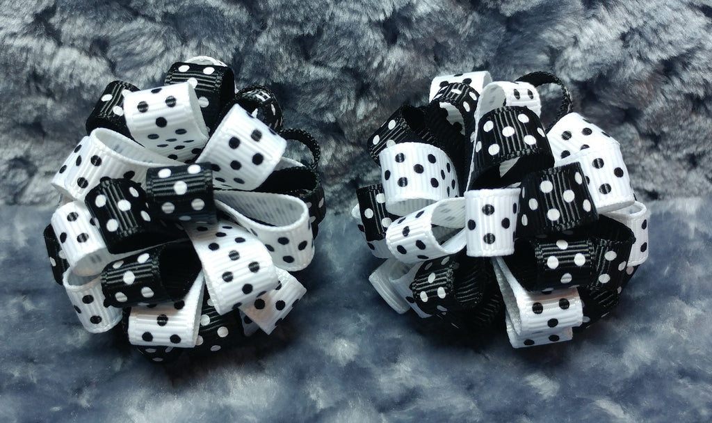 Boutique Hair Bow Puff Mini Set - Black and White Collection