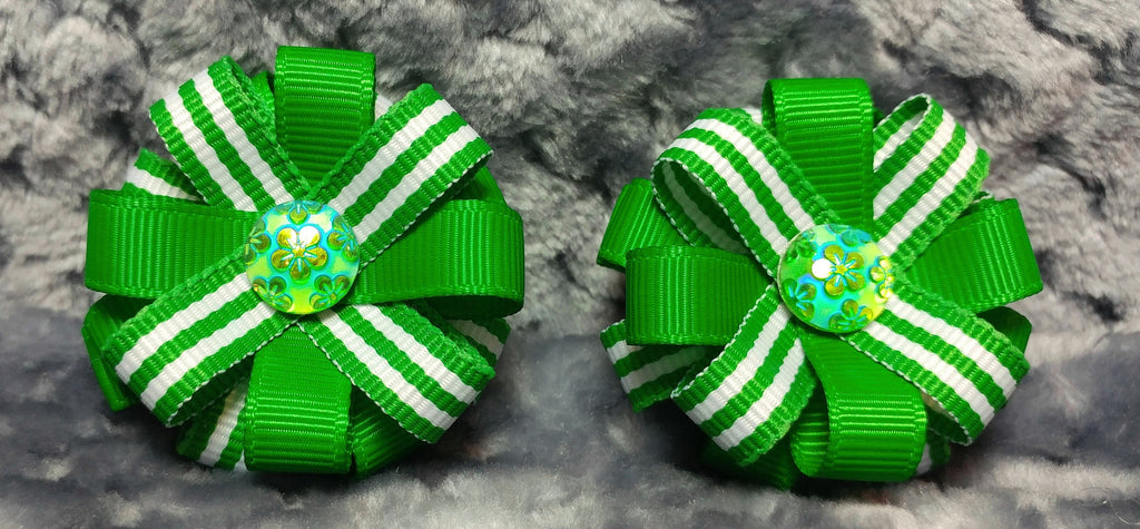 Flower Loop Stacked Hair Bow Set of Two - St. Patrick's Day