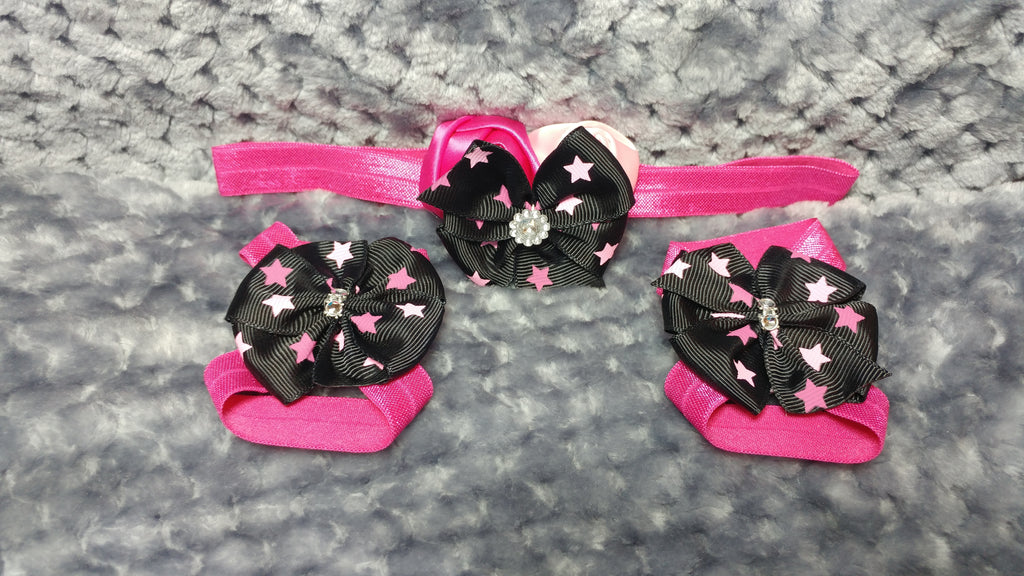 Boutique Pinwheel Hair Bow, Headband, Sandal Set