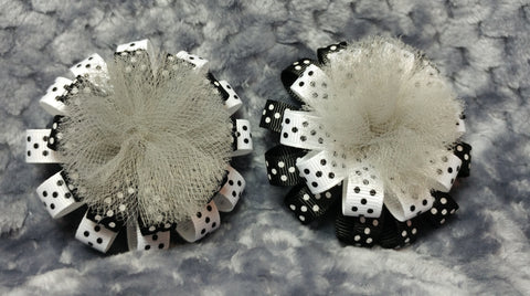 Flower Loop Stacked Hair Bow Set of Two - Black and White Collection