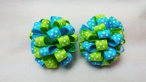 Boutique Mini Hair Bow Puff Set
