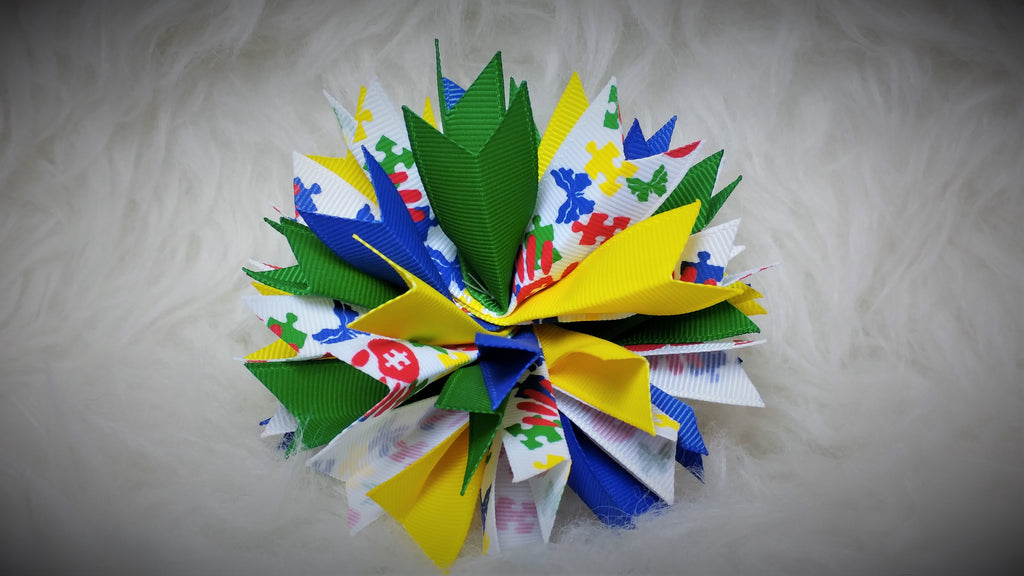 Boutique Burst Spiked Hair Bow - Autism Awareness